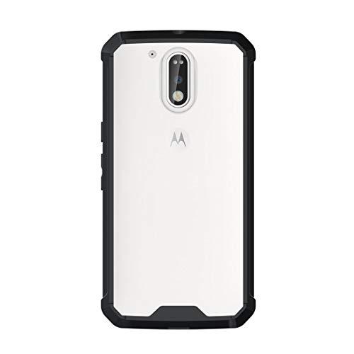 SHUFEIVICC For Motorola Moto G (cuarta generación) / G4 Plus Transparente a Prueba de Golpes Funda Protectora de la contraportada de TPU (Negro) (Color : Black)