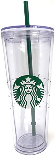 Starbucks Cold Cup Clear Venti Tumbler Traveler With Green Straw Logo - 24 oz