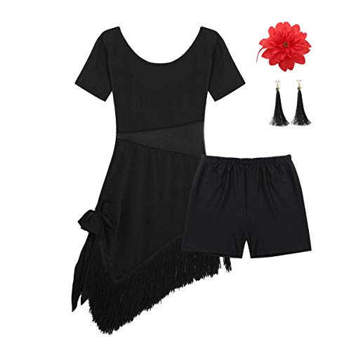 inhzoy Vestido de Baile Latino Flecos para Niña Vestido de Danza Flamenco Tango Rumba Borlas Traje de Samba Salsa Cha Cha Disfraz de Bailarina Negro 10-12Años