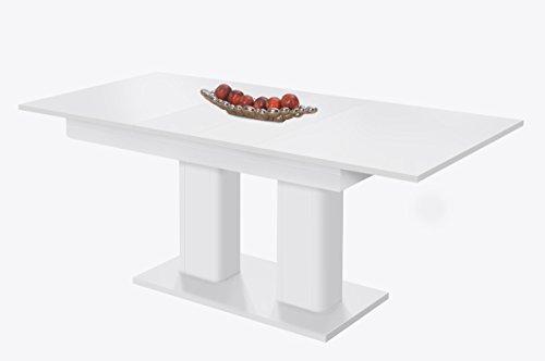 Tavolo da pranzo dipinta Shapely 'Heidelberg' Bianco Tavolo allungabile con due foglie di estensione 140 a 220 x 79,5 x 90 cm prodotto