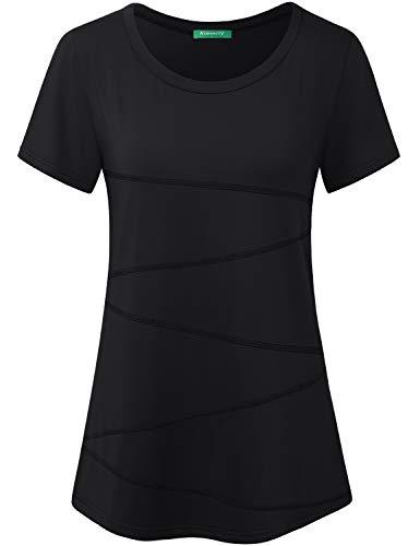 Kimmery Camiseta feminina de manga curta para ioga e corrida, treino, Black-3, XX-Large