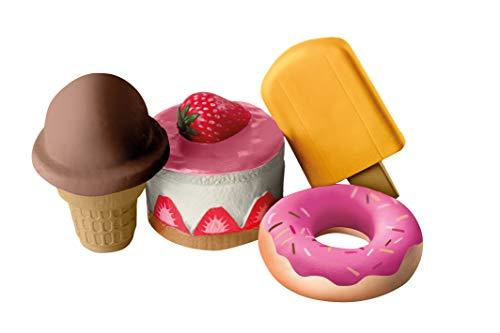 """roba Squishies 4er-Set """"Sweets"""", Eis am Stiel, Kuchen, Donut, Hörnchen-Eis, Antistress Spielzeug, Kaufladen- und Küchenzubehör, mehrfarbig"""
