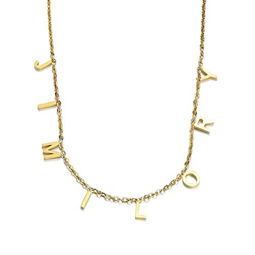 HJURTB Moda goxijite Nombre Letras gargantillas Collar para Mujer Acero Inoxidable Oro Letra Inicial Nombre Colgante Collares Regalo