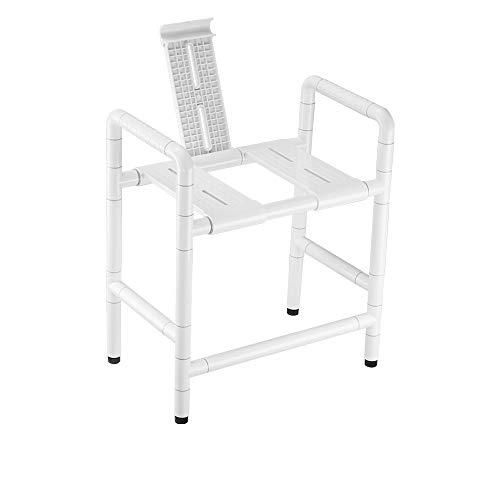 HSRG Badezimmersicherheit Sitzen mit Bad Dual-Use-Hocker-Stuhl Edelstahl Antibakterielle Nylon Elterne Behinderten-Badestuhl,White