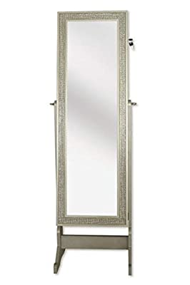 Iconic Home Glitzy Contemporary Royal Champagne Crystal-Border Cheval Mirror Jewelry Armoire