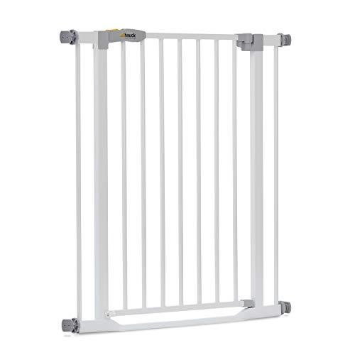 Hauck Türschutzgitter / Treppenschutzgitter für Kinder Clear Step Safety Gate / stolperfrei / ohne Bohren / 75 - 80 cm breit / erweiterbar mit separater Verlängerung / Metall Gitter / weiß