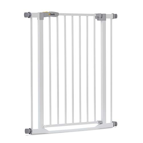Hauck Safety Gate for Doors and Stairs Clear Step / Pressure Fit / 75 - 80 cm Large / Thin Step Over Bar / Extendable with Separate Extensions / Metal / White