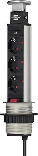 Brennenstuhl Tower Power, Tischsteckdosenleiste 3-fach (versenkbare Steckdosenleiste, 2m Kabel, komplett in Tischplatte versenkbar) alu / schwarz