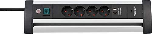 Brennenstuhl Alu-Office-Line Steckdosenleiste mit Power-Delivery 4-fach mit Schalter (Steckerleiste ideal für den Schreibtisch, 1,8m Kabel, 2x USB 3,1 A, Made in Germany), Silber/Schwarz