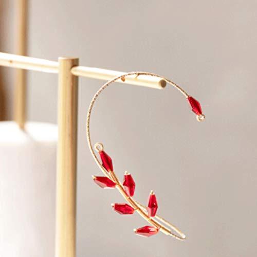 liuliu Pendientes de Moda Leaf Ear Cuff Diamantes de imitación curvos Aleación de Zinc Earcuffs Accesorios de joyería únicos Pendiente de Clip de Regalo para niña