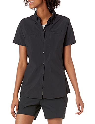 Amazon Essentials Camicia da Esterno a Maniche Corte con Tasche sul Petto Athletic-Shirts, Nero, US M (EU M-L)