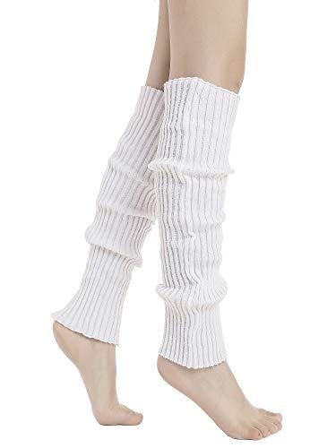 Sarfel Leg Warmers for Women 80s Ribbed Knit Leg Warmer Custume Womens Leg Warmers Sports Party Accessories White