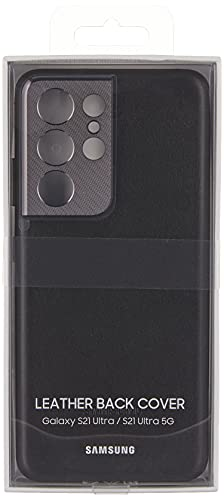 Samsung Galaxy S21 Ultra Case, Leather Back Cover - Black (US Version)