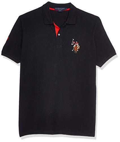 U.S. Polo Assn. Men's Multi Color Logo Solid Pique Polo, Black, XX-Large