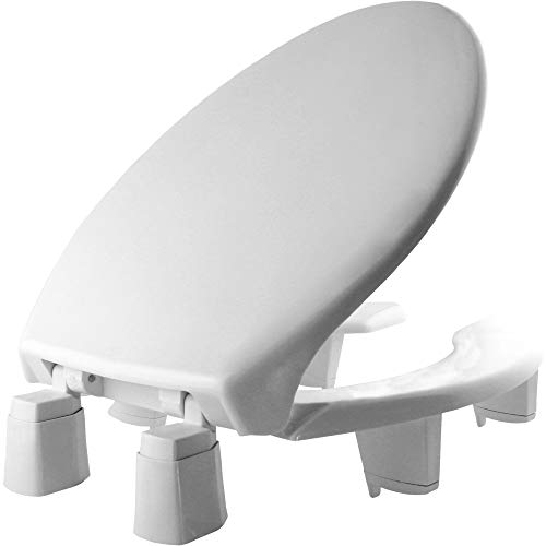 "BEMIS 3L2150T 000 Medic-Aid 3"" Lift Raised Open Front Plastic Toilet Seat with Cover, ELONGATED, Long Lasting Solid Plastic, White"