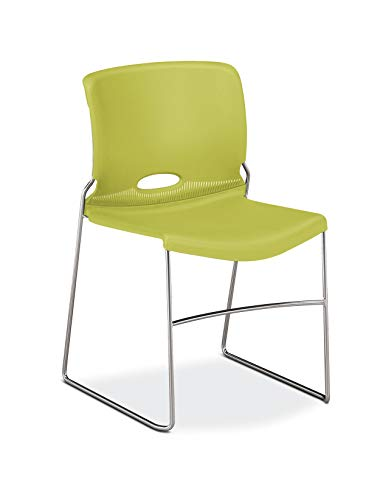 HON Olson Stacking Chair - Guest Chair for Office, Cafeteria, Break Rooms, Training or Multi-Purpose Rooms, Lime/Green Shell, 4 pack (H4041)
