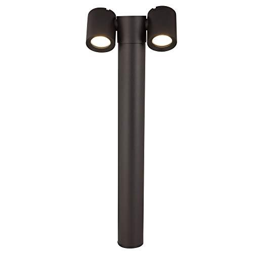 Réverbère exterieur, borne lumineuse, lampadaire, moderne, en aluminium couleur noir, plafonnier en verre, 2 x GU10 exclu 50 W IP54 230V