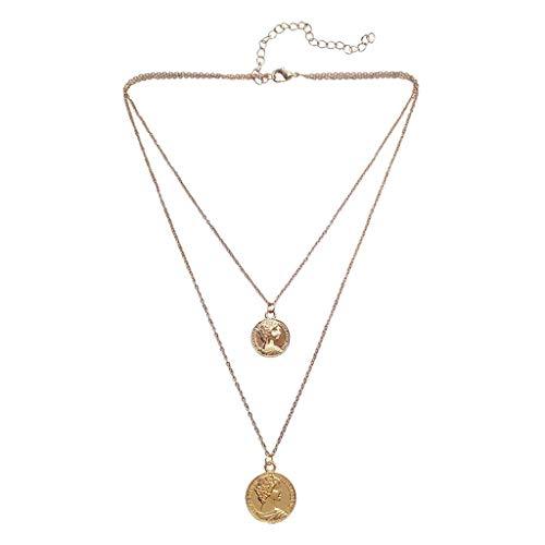 CCLOVE Collana A Strati con La Moneta, Collana del Choker con Il Vecchio Stile della Moda, Doppia Collana Moneta Stratificato, Materiale d'oro Placcato