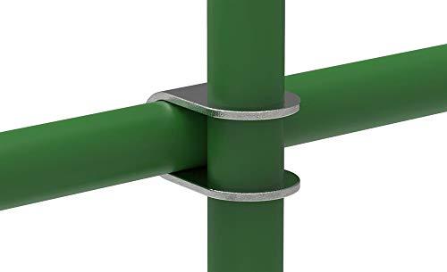 Fenau   T-Kreuzverbinder/Über-Kreuzverbinder, 90°, offen Ø 42,4 mm, Rohrverbinder, Temperguss galvanisiert, feuerverzinkt, inkl. Schrauben