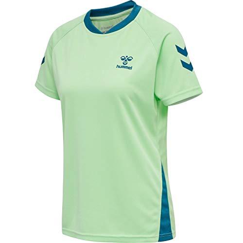 HUMMEL Womens HUMMEL ACTION Jersey S/S Woman Sweatshirt, Green ASH/Blue Coral, M
