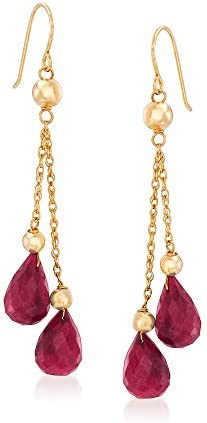 Ross Simons 15 00 ct t w Ruby and Bead Double Drop Earrings in 14kt Yellow Gold product image
