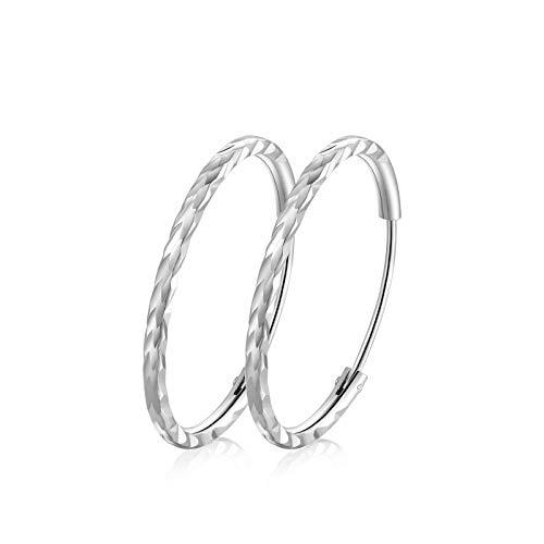 T400 Pendientes Mujer Aro de Plata de Ley 925 Grandes Aros Plata Diamante Circulo Redondo, Diámetro:25 35 45 55 65 MM