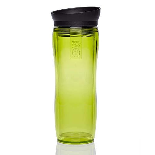 Shuyao Starter Set Tea To Go Thermobecher grün (360ml) mit integriertem Teesieb + 2x loser Tee 9g