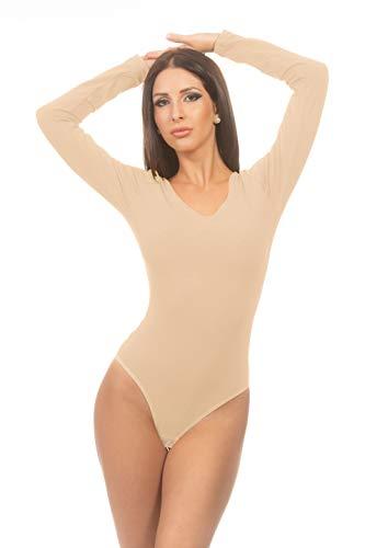 Magi Body de manga larga para mujer, con cuello redondo, body de ballet para mujer, con ajuste perfecto, body deportivo de danza beige S