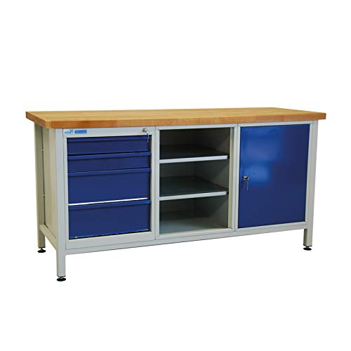 ADB Werkbank Werktisch Arbeitstisch Werkzeugtisch 1700x600x840 mm mit 1 Tür + 4 Schubladen Werkstatteinrichtung Zubehör Werkstatt ohne Rollen