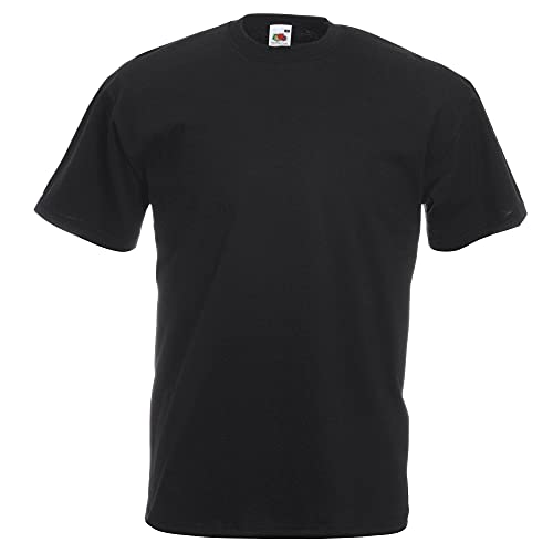 FRUIT OF THE LOOM MENS VALUEWEIGHT T-SHIRT (3XL 50'-52', Black)