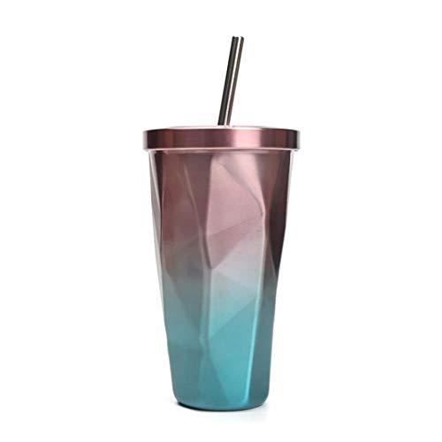 tJexePYK Botellas de Agua de vacío con Aislamiento de Manera Espesa Vasos para Beber de Acero Inoxidable Copa aislados con pajas de Doble Pared con Tapa