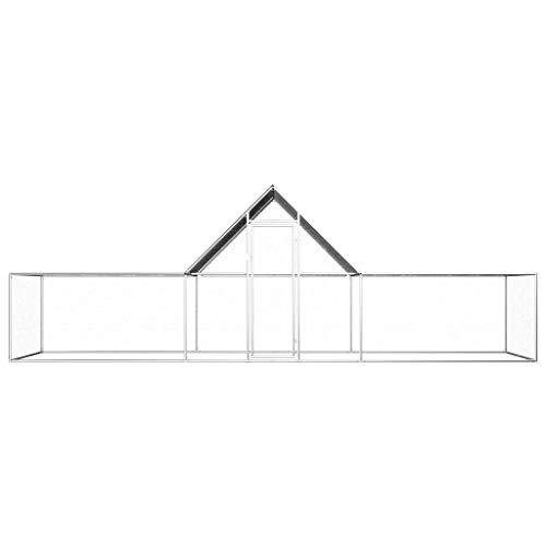 UnfadeMemory Hühnerstall Hühnerkäfig mit Wasserfestem Dach Verzinkter Stahl Freilaufgehege Hasenstall Hühnerhaus geeignet für Huhn, Henne, Ente, Gans usw. (#B- 6 x 2 x 2 m) - 2
