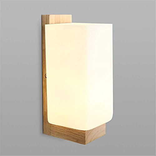 Lampara Pared,Lámpara de pared Lámpara de pared interior vintage de madera E27 Apliques de pared de madera maciza Lámpara LED con pantallas de vidrio retro para sala de estar, dormitorios