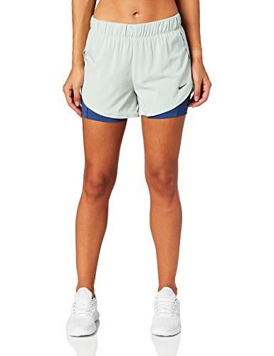 Nike Flex 2-in-1 Pantalones Cortos Pantalones Cortos Deportivos para Mujer, Color Pistachio Frost/Mystic Navy/Black, XS