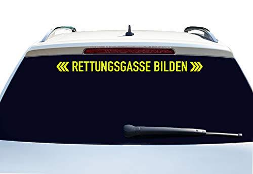 PrintAttack P002 | Rettungsgasse bilden - Auto Aufkleber 60 cm Breite | Aufkleber | Auto | Car | Heckscheibe | Heck (029 Neongelb)