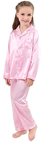 JOYTTON Kids Satin Pajamas Set PJS Long Sleeve Sleepwear Pink 120