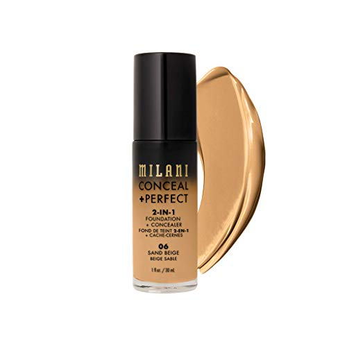 Milani Conceal + Perfect 2-in-1 Foundation + Concealer - Sand Beige (1 Fl. Oz.) Cruelty-Free Liquid Foundation - Cover Under-Eye Circles, Blemishes & Skin Discoloration for a Flawless Complexion