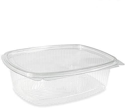 VIRSUS Vaschette ovali in Pet Scatola da 100 vaschette Trasparenti 1500cc USA e Getta con Coperchio Unito - Contenitori monouso di plastica con Chiusura ermetica