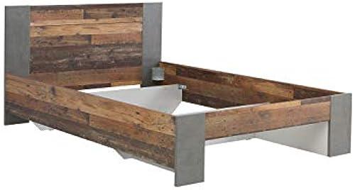 Wohnorama 140x200 Jugendbett Clif von Forte Old-Wood Vintage Beton by