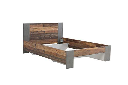 Wohnorama 140x200 Jugendbett Clif von Forte Old-Wood Vintage/Beton by