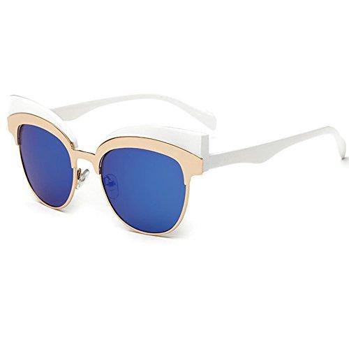 linyuan 604Mujer Ojo de gato marco de metal diseñador gafas de sol UV400 azul