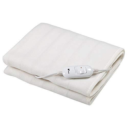 Calientacamas eléctrico en color blanco, dimensiones: 150 * 80 cm, lavable. 2 ajustes de temperatura. Potencia: 60W. THULOS TH-EB300.