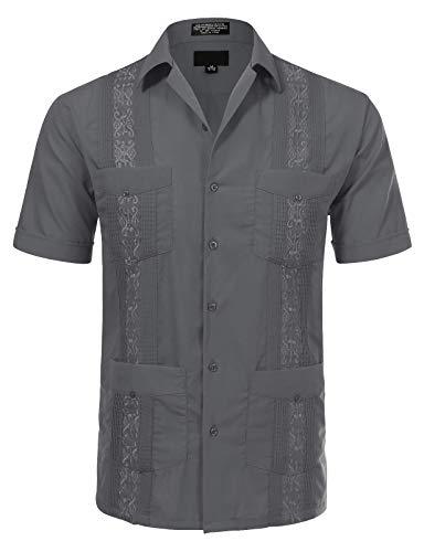 Allsense Men's Short Sleeve Cuban Guayabera Shirts 15-15.5N M Charcoal