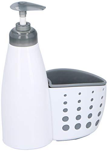 Alpina Dispenser bianco per detersivo o sapone liquido con supporto per utensili, per cucina o bagno