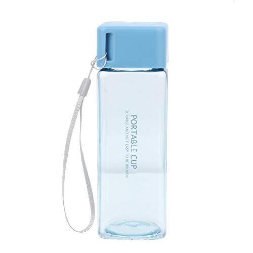 Caraffa per Acqua Quadrata da 300 ml Senza bPA con Coperchio a Tenuta(Blu)