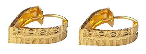 Sólido puro de 18 quilates 18 quilates amarillo oro fino en forma de corazón del diseño del aro de Altura-1.9CM Anchura-el 1.3CM para las mujeres, las niñas, niños, para hombre Bali