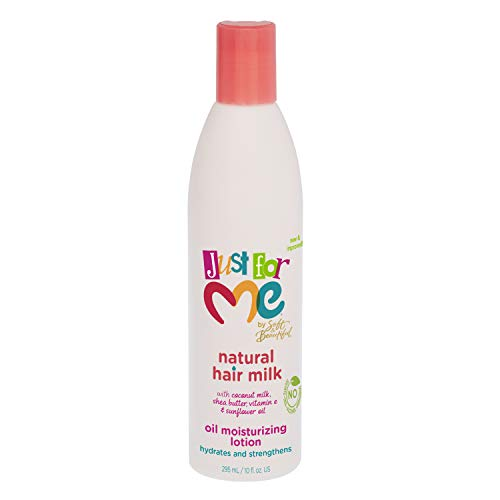 Just for Me Natural Hair Milk Lotion - Hydrates & Strengthens, Contains Coconut Milk, Shea Butter, Vitamin E, & Sunflower Oil, Lightweight Moisture, Reduces Frizz 10 oz