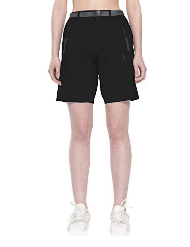 Little Donkey Andy Pantalones cortos elásticos para mujer, de secado rápido, para senderismo, camping, viajes, color negro, talla XXL