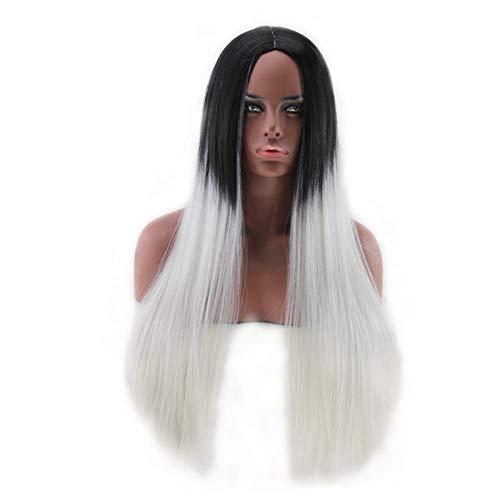 cosplay pruik, zwart gradiënt grijs lang steil haar, 65cm, natuurlijke levensechte pruik, zijde van chemische vezels op hoge temperatuur, pruik gebruikt door vrouwen voor dagelijkse aankleding en feest