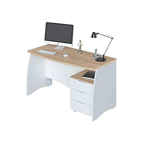 Scrivania con Cassetti Bliss, Scrittoio Mobile da Ufficio Tavolo Pc Soggiorno Camera Studio Sala da Pranzo per Computer Desk 136 x 74 x 64 cm Colore Bianco Rovere